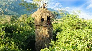 How to build beautiful 6 meters tall grass house by ancient skill