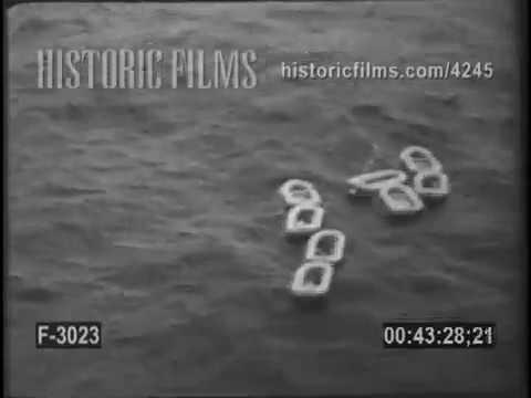 RESCUE 37 OF 65 IN OCEAN PLANE CRASH - 1950