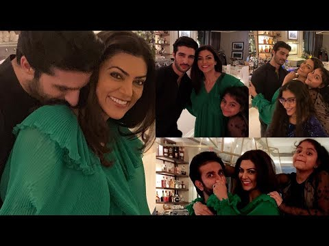 Sushmita Sen 43th birthday with R0hmil Shawl and her daughters