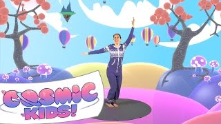Cosmic Kids Yoga Disco | Hot Air Balloonin'(Download on iTunes: http://apple.co/1GLifAr Cosmic Kids Yoga Disco! Helping kids have fun and be active to music. Do 'Hot Air Balloon' (a breathing exercise) ..., 2015-04-15T19:05:12.000Z)
