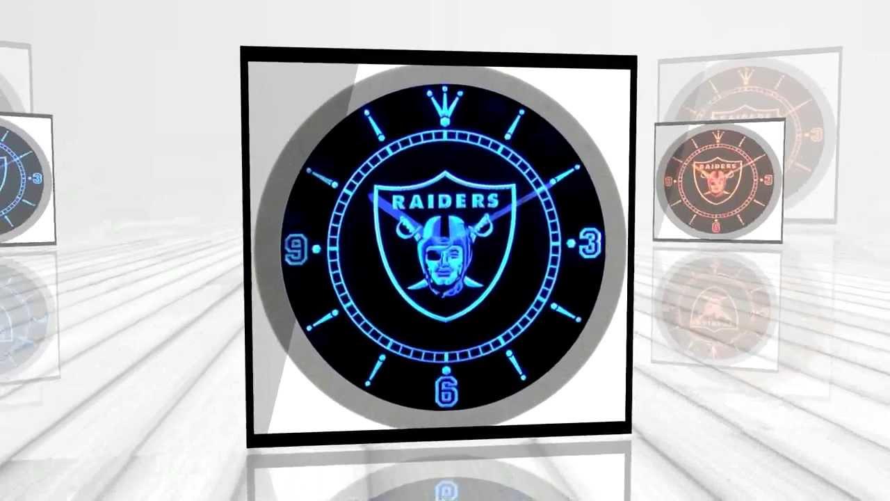 Oakland Raiders American Football Neon Sign Bar Wall Clock