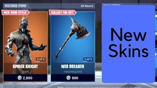 Fortnite New Spider Night And Arachne Skins + Glider And Axe