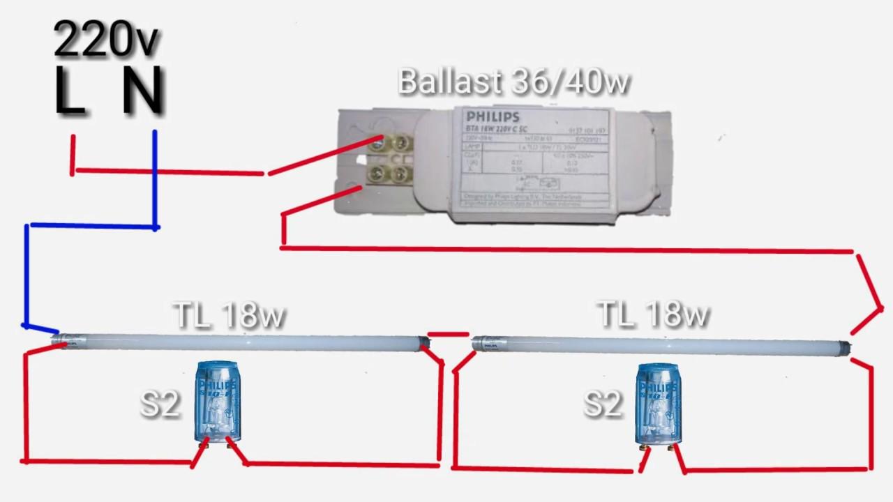 Lampu Tl Rangkaian Ballast Dan Starter Youtube