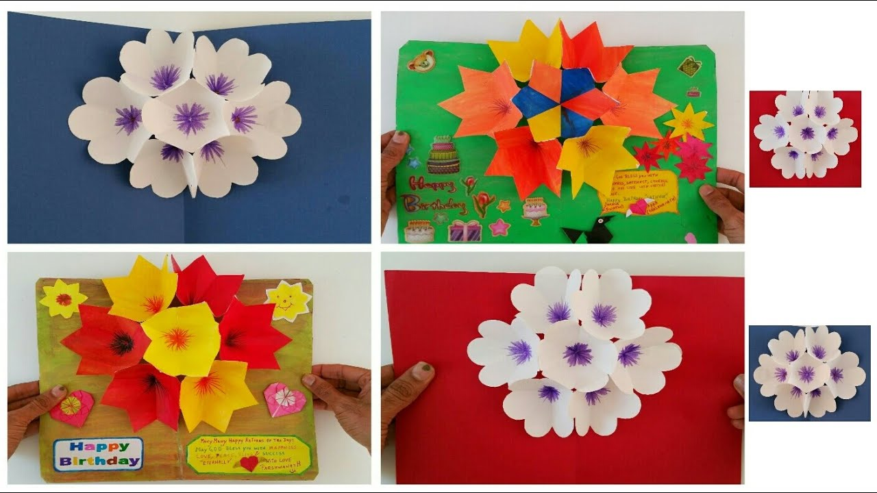 Papercraft Paper Craft - 3D Popup Flower Bouquet Greeting cards for Birthdays, special events &  occasions.
