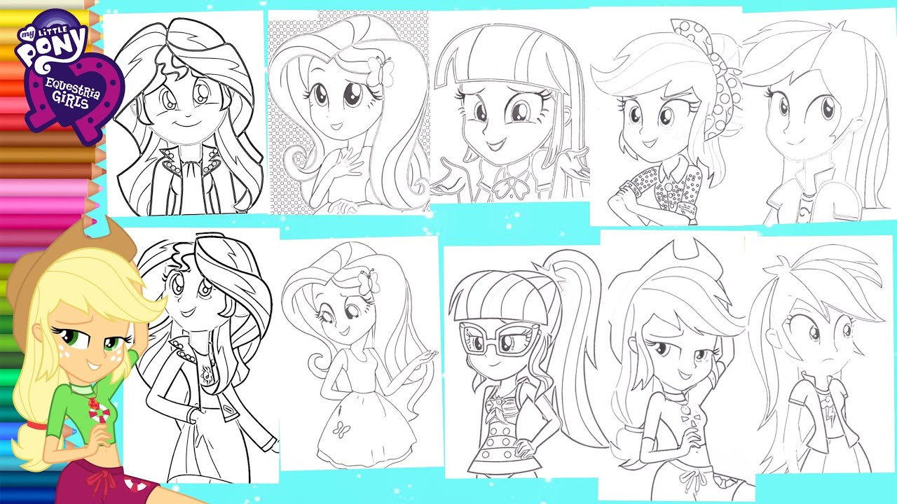 Coloring My Little Pony All Equestria Girls Compilation Mewarnai Kuda Poni Compilasi Youtube
