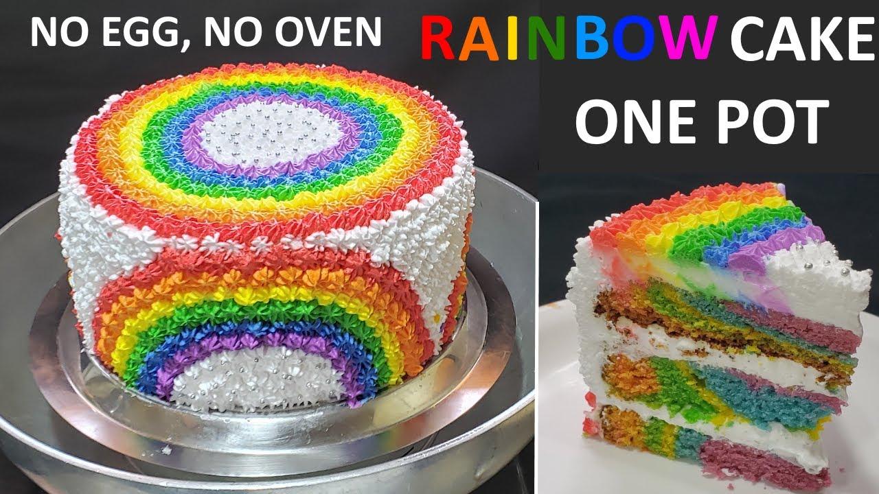 Easy One Pot Rainbow cake recipe | बिना अंडा बिना ओवन रेनबो ( Rainbow) केक बनाने का सबसे आसान तरीका