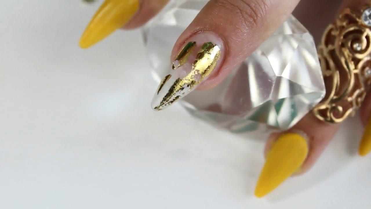Uñas Acrílicas En Tonos Mostaza Las Uñas Más Difíciles Para Mi Como Pego Mi Foil