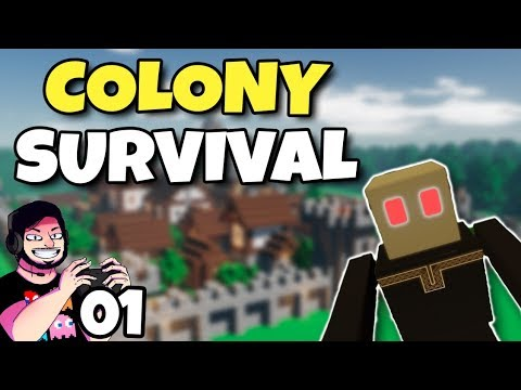 Minecraft + Factorio! | Colony Survival | Gameplay em Português PT-BR