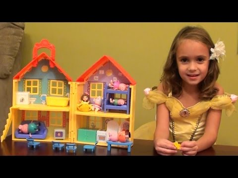 Peppa Pig Sleepover Story with Princess Belle in Peppa Pig Happy Family House