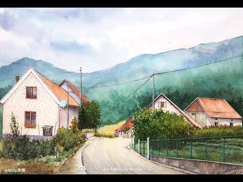 【米蒂水彩风景】Mitty watercolor 乡村小路 | Watercolor country road |Watercolor Landscape Painting Tutorial