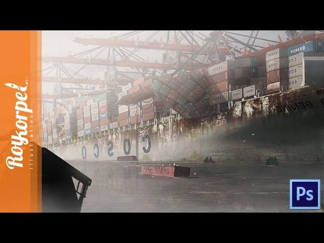 Abandoned Harbor Rotterdam - Photoshop speedart - time-lapse
