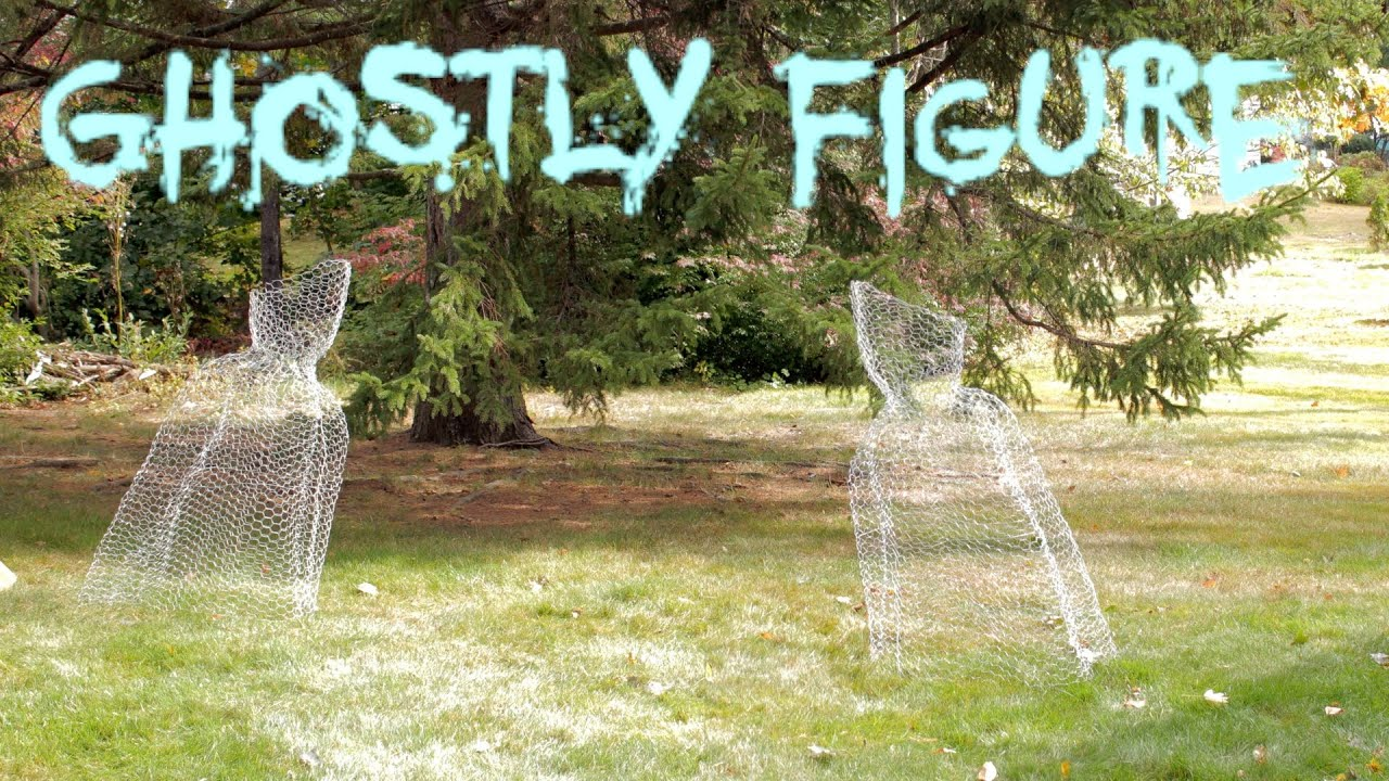 diy halloween chicken wire ghost figure yard decoration fast easy cheap 2014 youtube - Halloween Ghost Decorations Outside