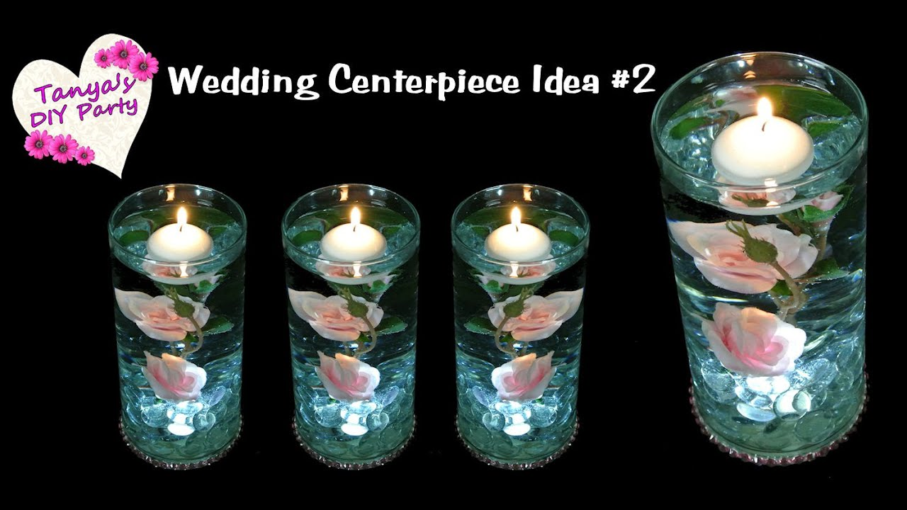 Lighted Centerpiece With Silk Roses Wedding Centerpiece Idea 2