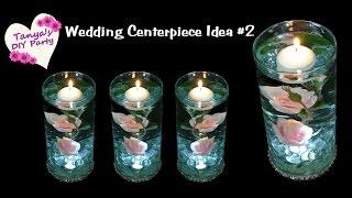 Lighted Centerpiece with Silk Roses - Wedding Centerpiece Idea #2