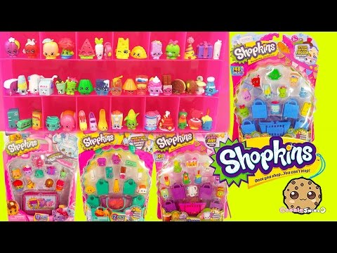Shopkins 12 Packs with Blind Bags Season 1 , 2 , 3, 4 and Collectors Case - Cookieswirlc Video