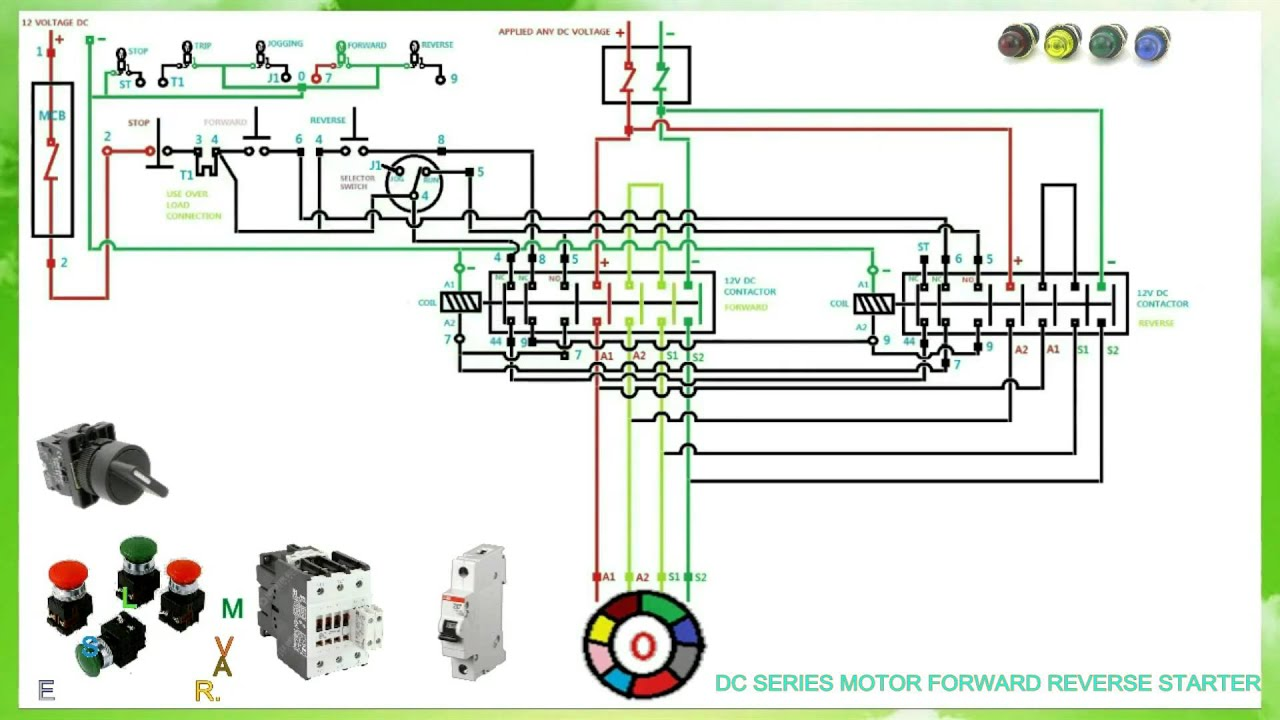 Dc Series Motor Forward Reverse Starter Connection And