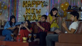 Unhappy boring people chatting on their smartphones during New Year time in India
