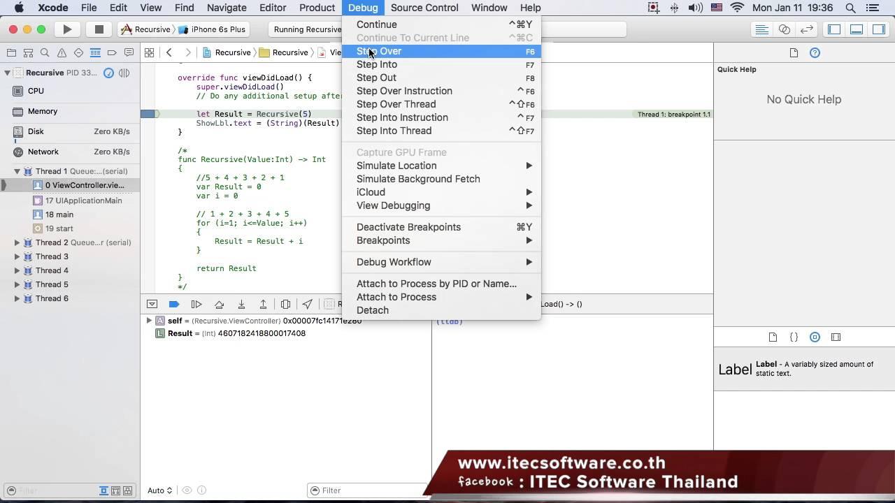 21 : สอนเขียนโปรแกรมบนระบบ iOS ด้วยภาษา Swift สำหรับผู้เริ่มต้น (Beginner)  - Recursive Function