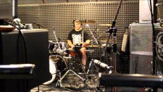 After the Darkness - studio recording drums for the song Fire and pain