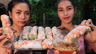Yummy cooking spring rolls shrimp recipe  Cooking skill
