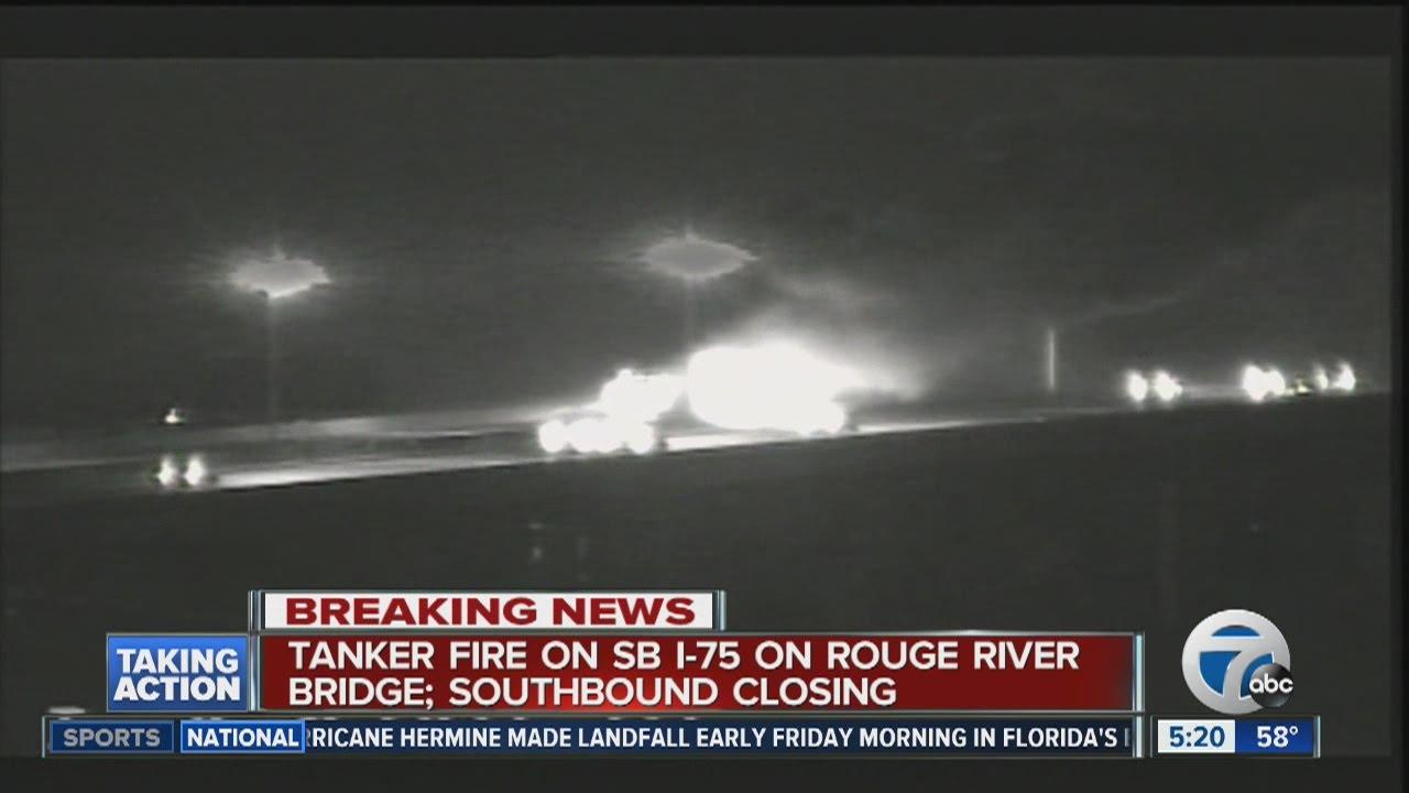 Tanker fire on River Rouge Bridge I75 SB shut down YouTube