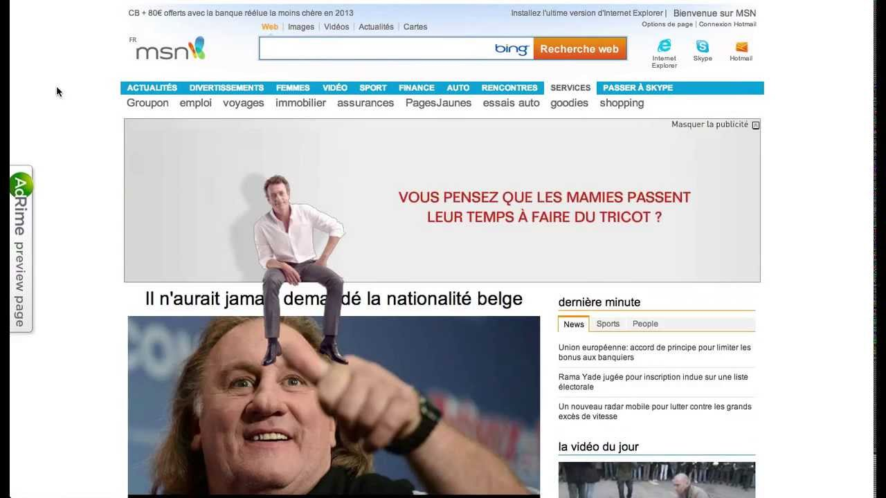 Incredible Rich Media banner on MSN powered by Weborama/AdRime