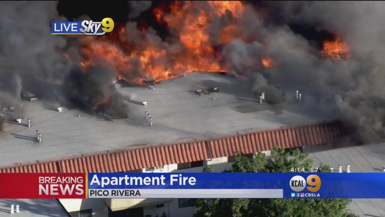 Roof Collapses In 3-Alarm Fire In Pico Rivera Apartment Complex