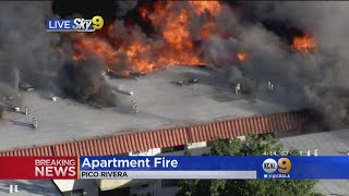 Roof Collapses In 3-Alarm Fire In Pico Rivera Apartment Complex