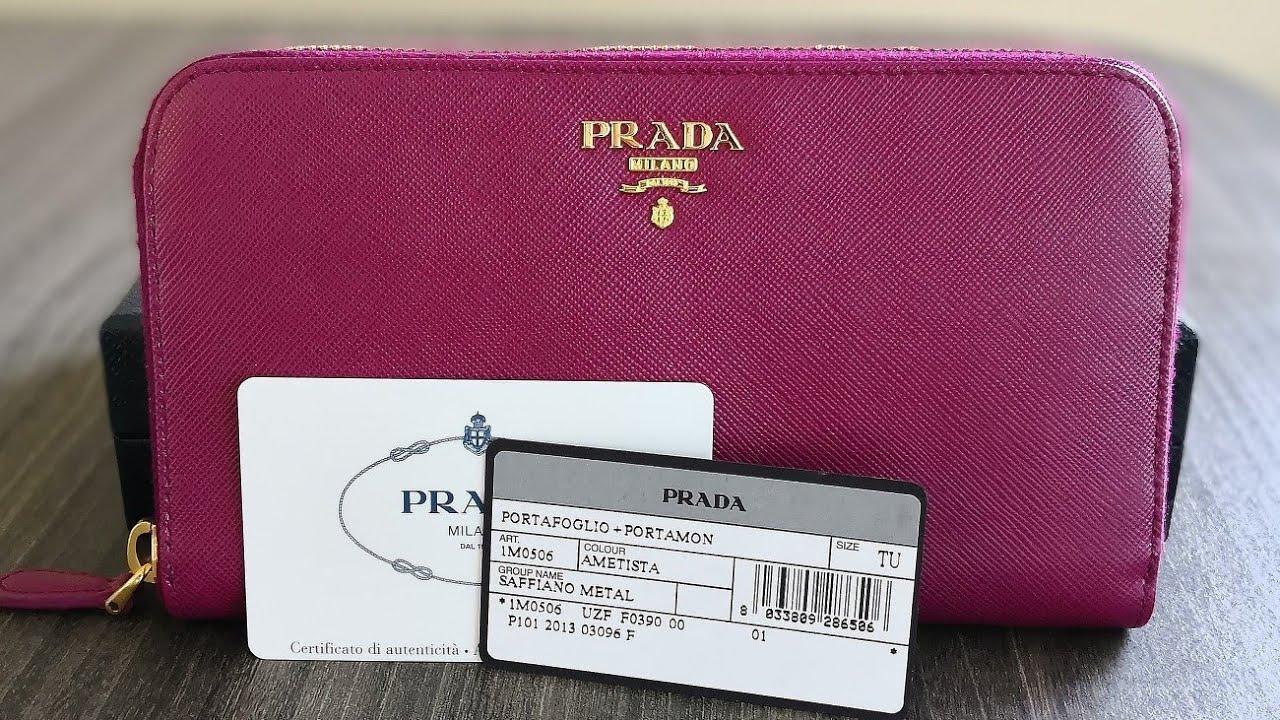 91e5c32ffb158c รีวิวกระเป๋าปราด้า Prada Saffiano Leather Zip Around Long Wallet - Ametista  | 1M0506