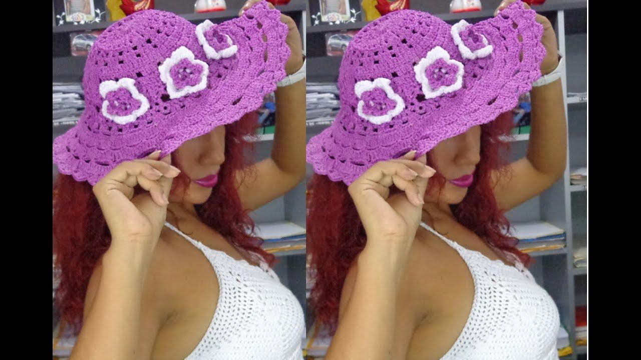 Sombrero de playa tejido a crochet paso a paso youtube - Como hacer flores de ganchillo ...