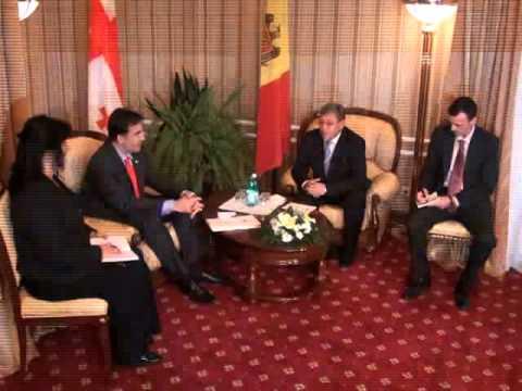 Preşedintelui Georgiei, Mihail Saakashvili and Preşedintele Republicii Moldova, Mihai Ghimpu