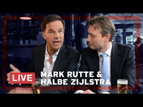 Mark Rutte en Halbe Zijlstra LIVE op een terras in Den Haag.