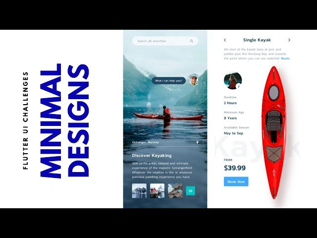 Flutter UI - Minimal Designs - Discover kayaking - Speed Code