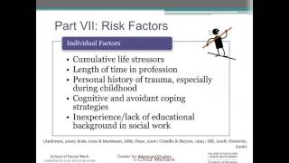 The objectives of this module are for viewer to be able define secondary traumatic stress (sts) in relation child welfare, understand prevalenc...