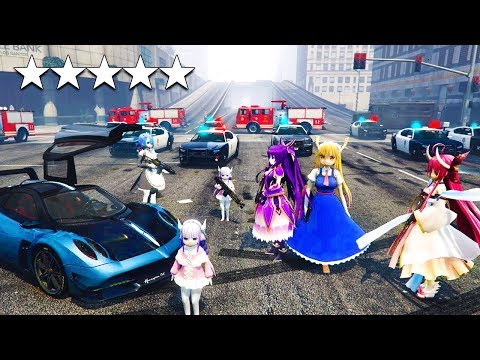 ANIME GIRLS ESCAPE A 5 STAR WANTED LEVEL - GTA 5 mods Gameplay