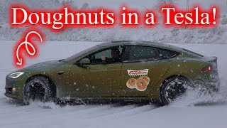 Can A Tesla Model S Do Doughnuts in the Snow?!