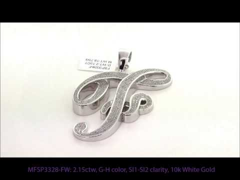 2.15 Carat Initial F Large Diamond Pendant In 10k White Gold
