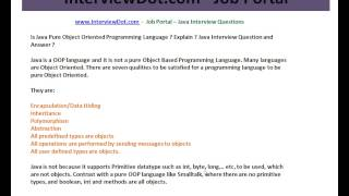 Java Interview Question And Answer Pure Object Oriented Language Is Java Java Interview Question