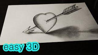Простой рисунок 3D сердце со стрелой АМУРА(ПРОСТЫЕ 3D рисунки - http://www.youtube.com/playlist?list=PL9RJD2tRjH9UJ0pvQhGXJGSOsPsrQE4Uj 3D РИСУНКИ ..., 2016-03-21T11:24:29.000Z)