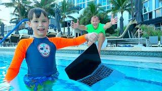 Max hide dad's MacBook in water