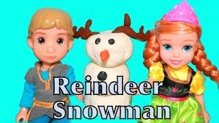 Young Kristoff, Anna, And Kristoff Want To Build A Play-doh Snowman Olaf Part 2 Alltoycollector