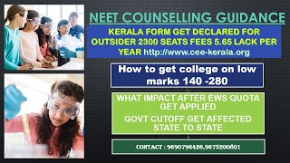 Neet ug kerala forms get declared for non keralite . Impact of ews quota in neet ug counselling