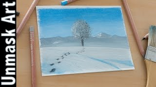 Winter Landscape | Colored Pencil Drawing Time Lapse