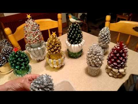 Beautiful Pine cone Christmas decorations with stand.