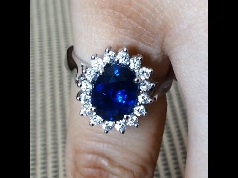 2.00 carat Natural Unheated Vivid Blue Sapphire & Diamond Engagement Ring from Bangkok, Thailand