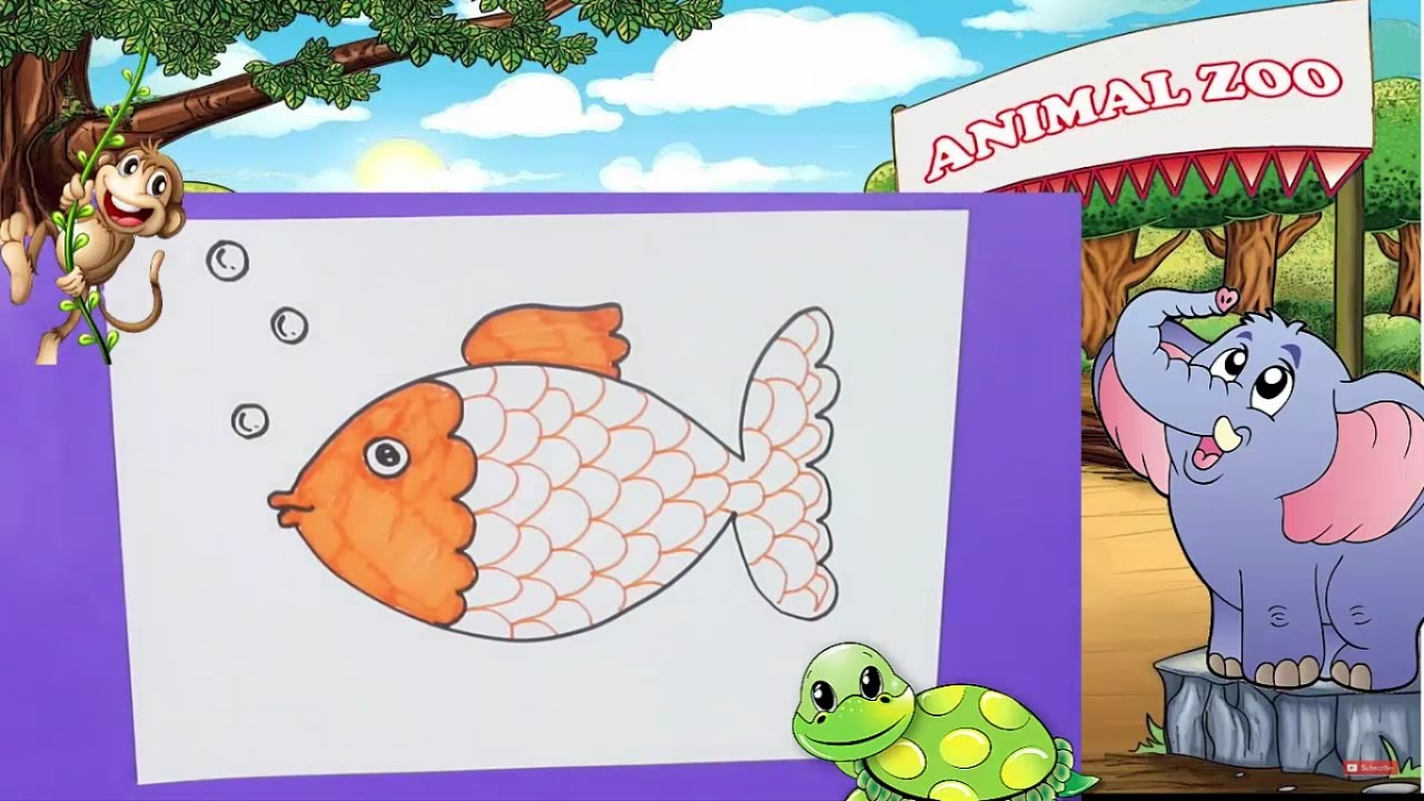 My house with garden drawing for kids - Drawing For Kids How To Draw Fish