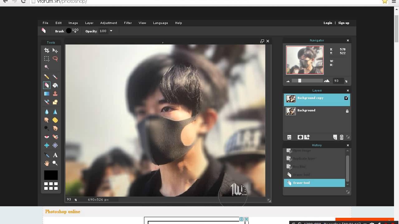 Cách làm mờ ảnh bằng Photoshop Online