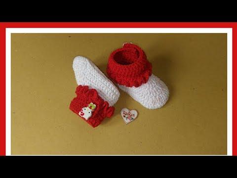 Merajut sepatu bayi boot merah putih
