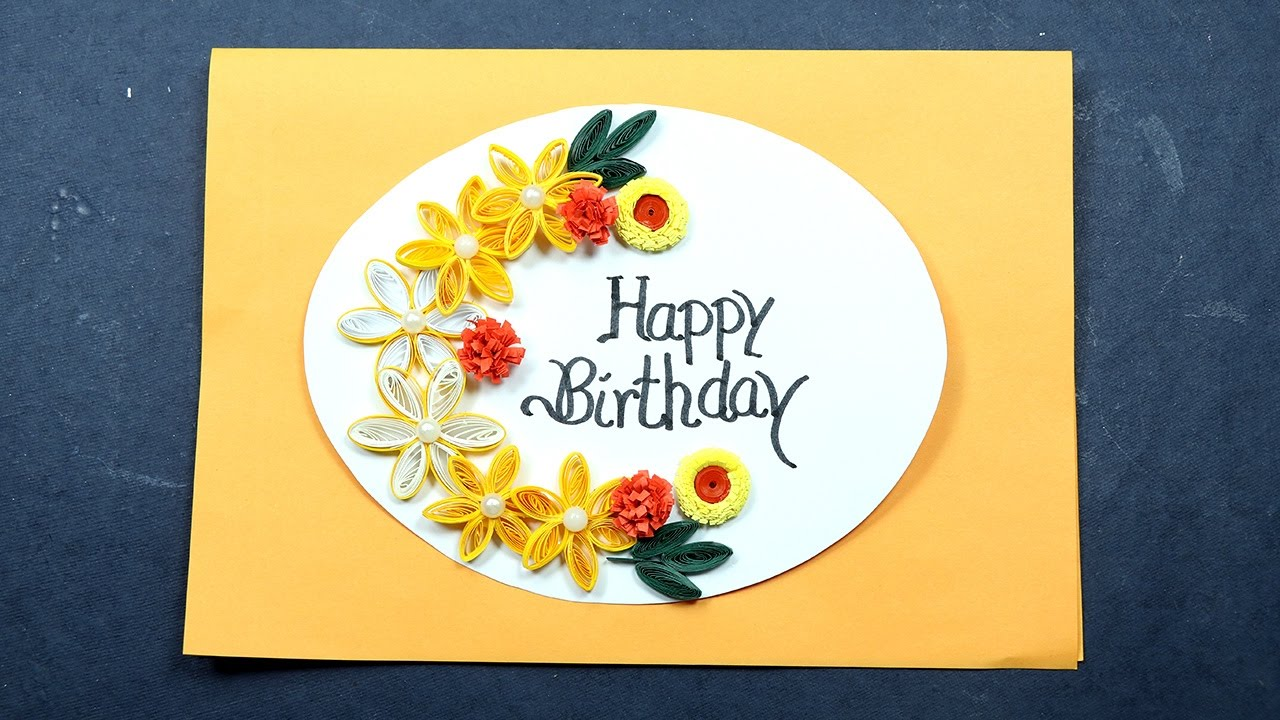 Birthday card making with paper quilling very easy for beginners paper quilling birthday stopboris