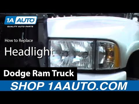 hqdefault how to install replace headlight dodge ram truck 98 02 1aauto  at bakdesigns.co